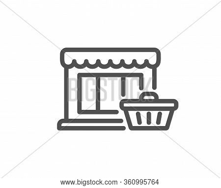 Marketplace Line Icon. Shopping Store Sign. Customer Cart Symbol. Quality Design Element. Editable S