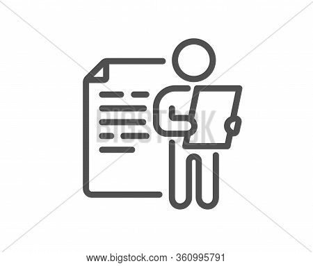 Job Interview Document Line Icon. Cv File Page Sign. Office Workflow Symbol. Quality Design Element.