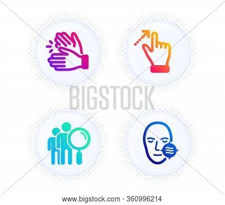 Touchscreen Gesture, Search People And Clapping Hands Icons Simple Set. Button With Halftone Dots. P