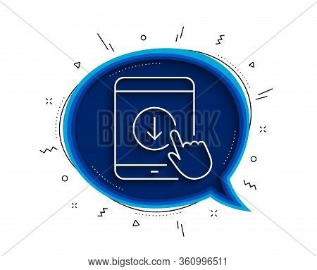 Scroll Down Tablet Pc Line Icon. Chat Bubble With Shadow. Scrolling Screen Sign. Swipe Page. Thin Li