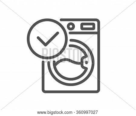 Washing Machine Line Icon. Wash Laundry Sign. Washable Cleaner Symbol. Quality Design Element. Edita