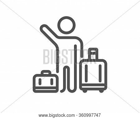 Baggage Reclaim Line Icon. Airport Transfer Sign. Flight Bags Symbol. Quality Design Element. Editab