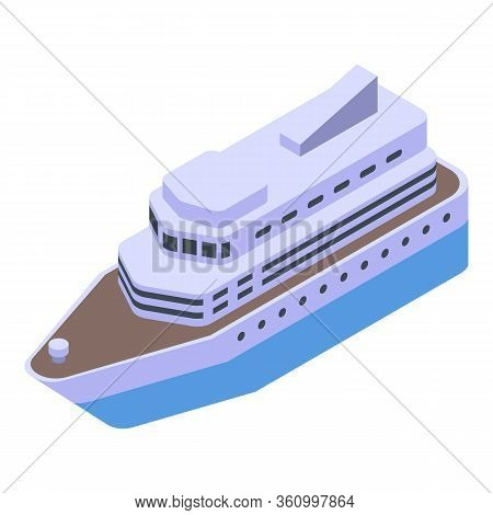Cruise Ship Icon. Isometric Of Cruise Ship Vector Icon For Web Design Isolated On White Background