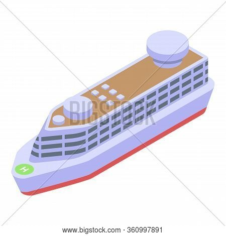 Ocean Cruise Ship Icon. Isometric Of Ocean Cruise Ship Vector Icon For Web Design Isolated On White