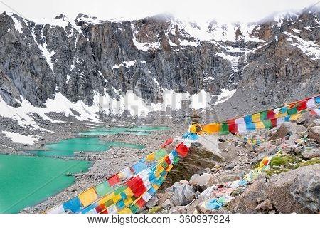 The Gauri Kund Mountain Lake During The Ritual Kora (yatra) Around Sacred Mount Kailash. Ngari Scene