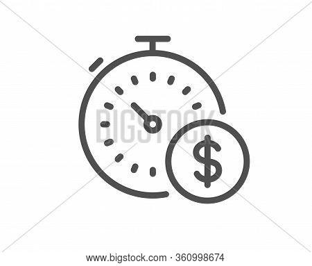 Last Minute Sale Line Icon. Shopping Timer Sign. Supermarket Time Symbol. Quality Design Element. Ed