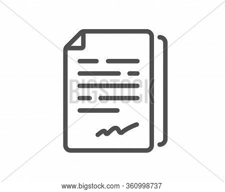 Document Signature Line Icon. Agreement Doc File Sign. Office Note Symbol. Quality Design Element. E