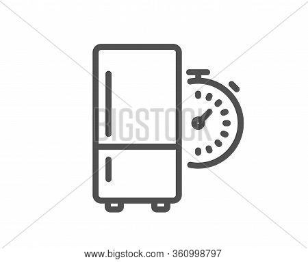 Refrigerator Timer Line Icon. Fridge Time Sign. Freezer Storage Symbol. Quality Design Element. Edit