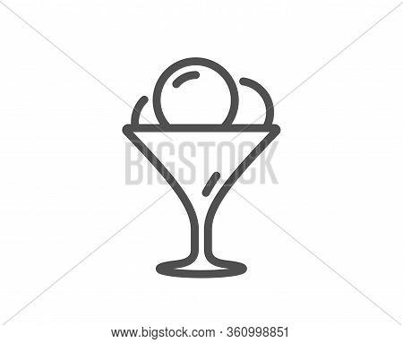 Ice Cream In Glass Line Icon. Vanilla Sundae Sign. Frozen Summer Dessert Symbol. Quality Design Elem