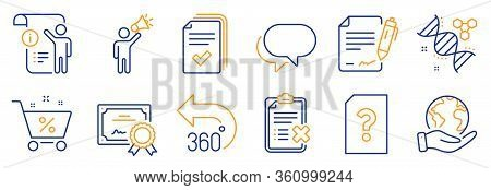 Set Of Technology Icons, Such As Talk Bubble, Handout. Certificate, Save Planet. 360 Degrees, Manual