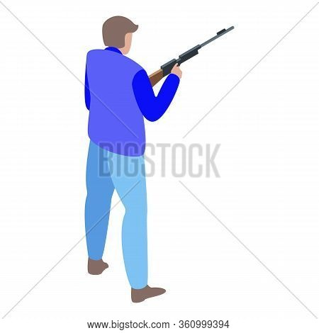 Man Shooter Icon. Isometric Of Man Shooter Vector Icon For Web Design Isolated On White Background