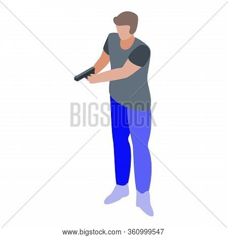 Pistol Shooter Icon. Isometric Of Pistol Shooter Vector Icon For Web Design Isolated On White Backgr