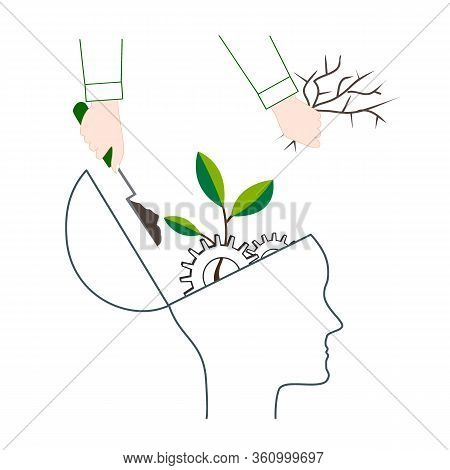 Psychotherapy Or Nlp Symbol, Natural Language Processing Or Mental Growth Icon. Personal Development