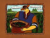 a grape picker with a brown frame poster