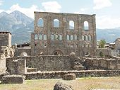 Ruins of the Roman Theatre in Aoste Italy. poster