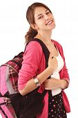 Pretty smiling teenage girl in fashionable back to school clothes carries a backpack over her shoulder. Pink sweater black short skirt. Vertical isolated on white copy space. poster