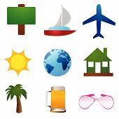 Travel icons vector on white background wallpaper poster