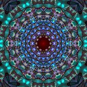 Colorful stained glass impression seamless tile kaleidoscopic design - digital abstract background poster