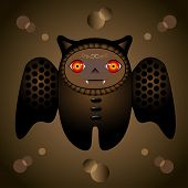 the beauty brown cartoon bat with red eyes poster