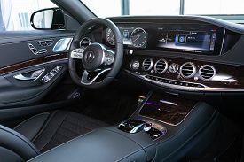 Novosibirsk, Russia - April  02, 2020  Mercedes-benz S-class, Luxury Car Interior - Steering Wheel,