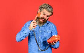 Innovative Ideas. Businessman Talking On Vintage Phone In His Office. Agile Business. Vintage Statio