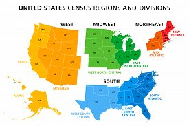 United States, Census Regions And Divisions, Political Map. Region Definition Widely Used For Data C