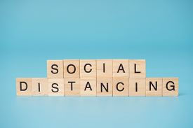 Social distancing infection concept. Letter  of  wooden blocks