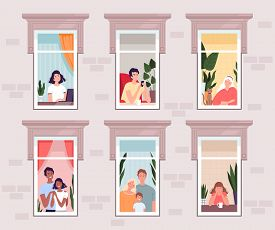 People In Quarantine And Isolation Stay At Home And Look Out The Windows. Families, Couples, Young A