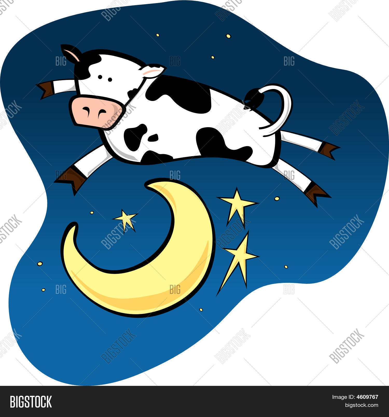 Cow Jumping Over Moon Vector Photo Free Trial Stock