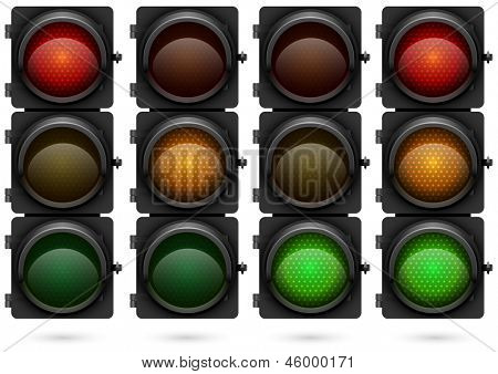 Traffic lights isolated on white background vector template.