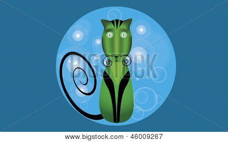 Green elegant cat with black paws