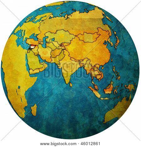 Syria On Globe Map