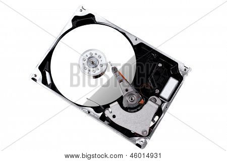 real open hard drive isolated on white background