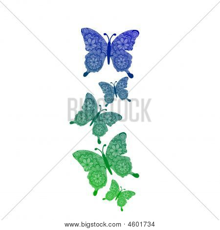 Green Blue Butterflies Background