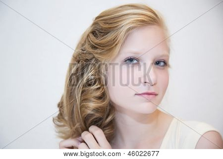 Beautiful young girl in retro style