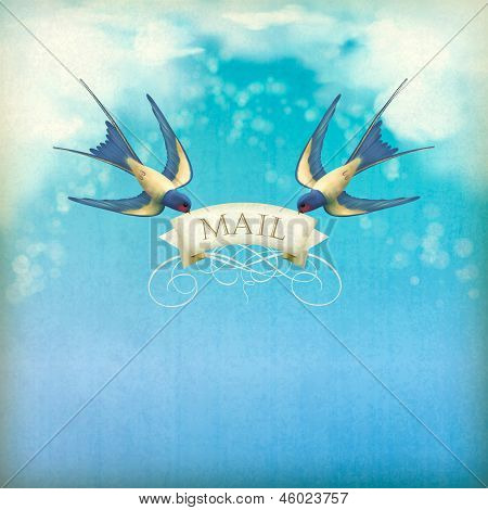 Swallows mail vintage postcard. Free flying birds (swallows) with decorative banner text Mail on a blue sky nature background with white clouds subtle grunge texture blurs poster