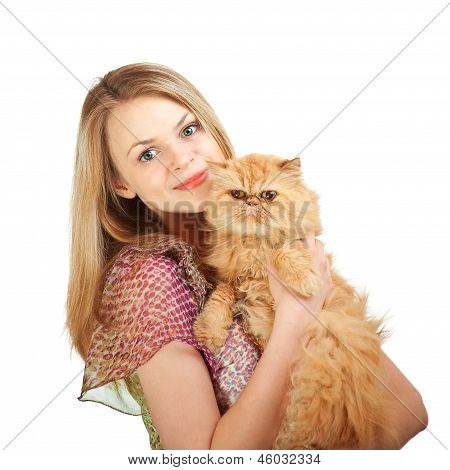 The nice girl with a red cat on hands