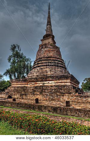 Old chedi (Buddhist stupa) in Sukhothai, Thailand