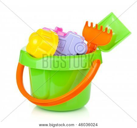 Baby beach sand toys. Isolated on white background