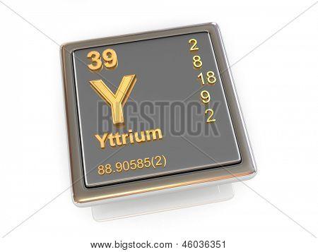 Yttrium. Chemical element. 3d poster
