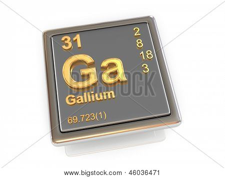 Gallium. Chemical element. 3d poster