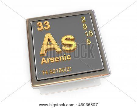 Arsenic. Chemical element. 3d poster