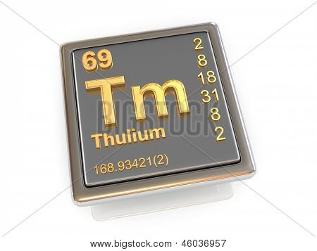 Thulium. Chemical element. 3d poster