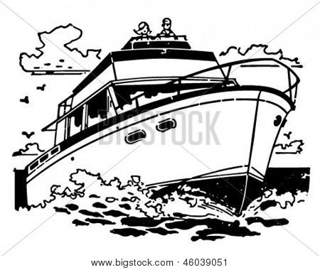Cabin Cruiser - Retro ClipArt-Grafik Illustration
