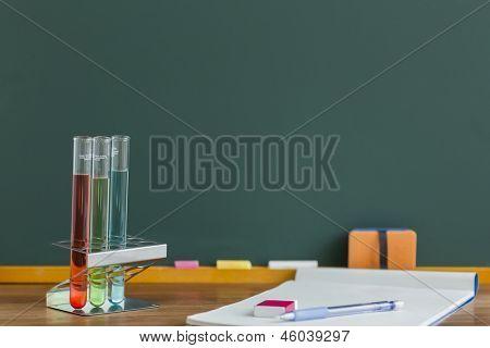 A blackboard and labware