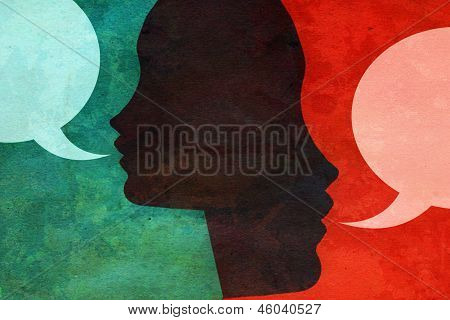 Two people talking