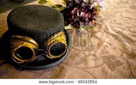 Steam Punk Top Hat With Goggles.