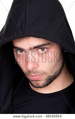 Closeup Of A Teenager Wearing A Hoodie