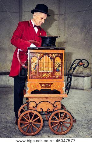 Ljubljana, Slovenia - May 25: Unidentifed Old Barrel Organ Grind