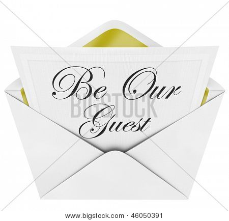 Be Our Guest words formal invitation envelope cordially inviting you to a party or other important special event poster